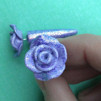 Purple Glitter Rose Tapers - Polymer Clay - Fake Gauged Earrings