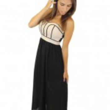 Black And Taupe Maxi Dress With Caged Back