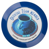 Team Coffee with Blue Cup, Saucer, and Beans USB Charging Station