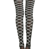 Blackheart Black & White Lace-Up Tights