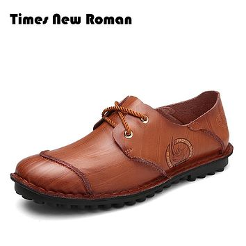 Leather Casual Shoes For Men Spring Shoes Brown Comfortable lace up Men's Shoes