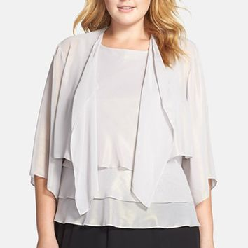 Plus Size Women's Alex Evenings Tiered Chiffon Twinset,