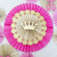 Paper Rosettes - Paper Fans - Paper Pinwheels - Pink and Gold Princess Party - Birthday Decorations - Baby Shower Decorations - Ballerina