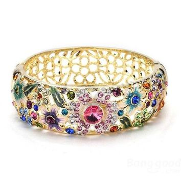 Cloisonne Vintage Jewelry 18k Gold Plated Rhinestone Hollow Flower Leaf Wide Bracelet