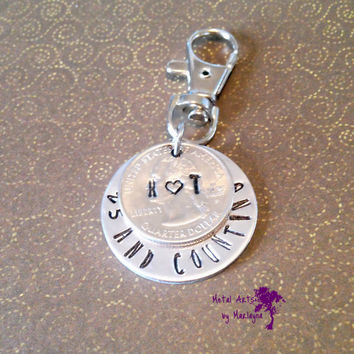 Anniversary Key Chain, 25th Anniversary, Quarter Jewelry, Personalized Gift, Hand Stamped, Gifts for Her, Couples Key Chains, Gifts for Him