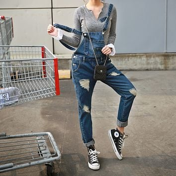 Hole Fashion Denim Overalls Jumpsuit
