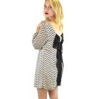 SZ MED Suzy Bell Black & White Chevron Bow Blouse Dress