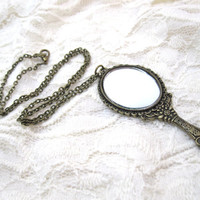 Antique bronze mirror necklace by LazyOwlBoutique on Etsy