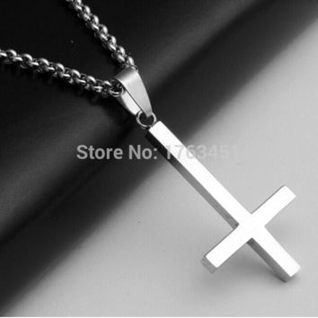 Multi-3 50%off Inverted Cross of St Peter titanium steel 316LStainless Steel Pendant Necklace Lucifer Satan fashion vintage punk jewelry