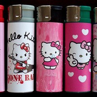5 HELLO KITTY LIGHTER REFILLABLE CIGAR CIGARETTE FITS PURSE BAG WALLET HANDBAG