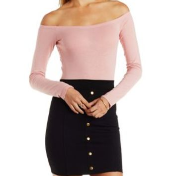 Blush Off-the-Shoulder Long Sleeve Bodysuit by Charlotte Russe