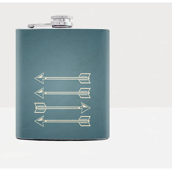 Arrow Flask Custom name Personalized flask Mens flask Birthday gift Stainless Steel Blue 7 oz