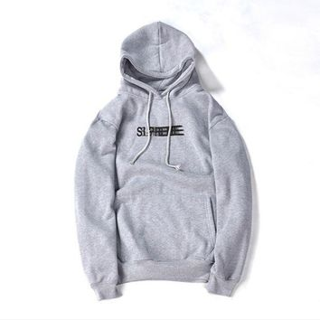 Supreme autumn and winter tide brand men and women lovers new Phantom sweater coat jacket plus flannel Gray