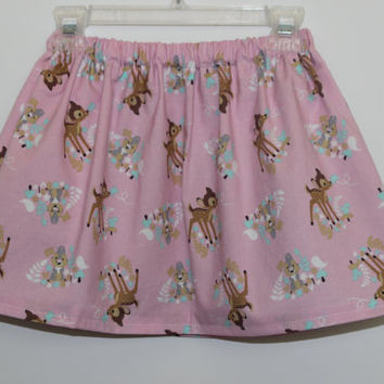 Girls Pink Bambi Skirt, Disney Bambi Print Skirt - Pink Bambi Skirt, Baby Bambi Skirt, Girls Skirt, Toddler Skirt