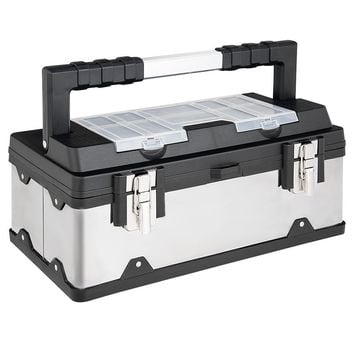 """18"""" Tool Box Stainless Steel and Plastic Portable Organizer with Lid"""