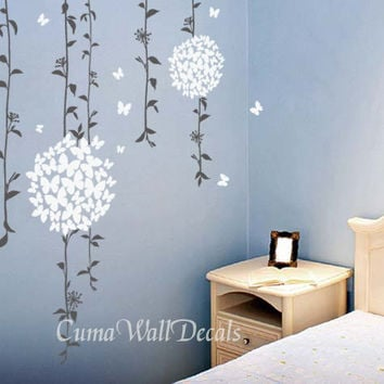 Flower wall decals tree vinyl wall decals butterfly sticker children wall decals nursery wall art