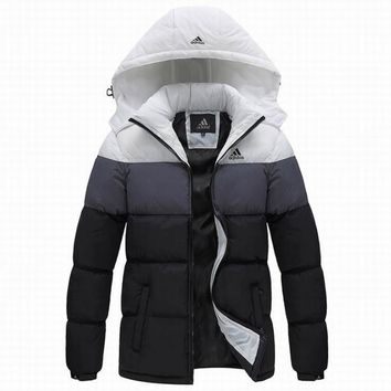 Adidas Women Men Fashion Hoodie Long Sleeve Cardigan Bread Down Coat Cotton-padded Clothes Jacket Windbreaker Thick White