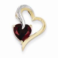14k Gold Diamond and Garnet Heart pendant