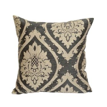 "Satin Damask Pattern 18""x18"" Gray/Cream Pillow Case/Cushion Cover"