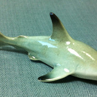Miniature Ceramic Shark Sea Fish Animal Cute Little Tiny Small Grey Black White Figurine Statue Decoration Collectible Craft Hand Painted
