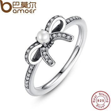 BAMOER 925 Sterling Silver Delicate Sentiments Finger Ring with White Pearl & Clear CZ Original Engagement Ring PA7160