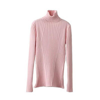 Pink Turtleneck Ribbed Sweater