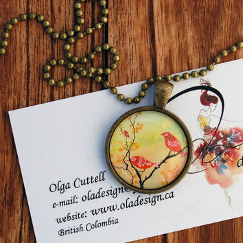 """Glass Antique Bronze Pendant """"Dusk-Lit Gathering"""" Oladesign watercolor Art painting Red Birds Colourful tree round jewelry Canadian"""