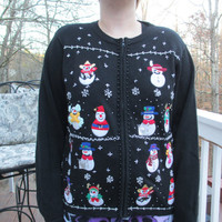 Tacky Christmas Sweater, Tacky Sweater, Ugly Sweater,  Snowman Sweater, knit sweater