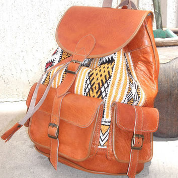 Moroccan Leather kilim Backpack Rucksack back bag soulder vintage purse travel kilim bag shoulder women men bag