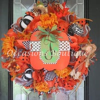 Fall Wreath, Fall Door Hanger, Fall Decoration, Front door wreath, Wreath for Door, Pumpkin decoration, Deco Mesh Wreath