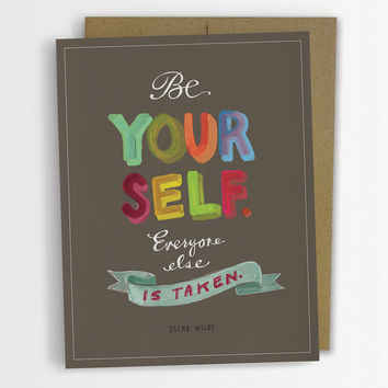 "Oscar Wilde ""Be Yourself"" Inspirational Quote Card, Graduation Card 161-C"