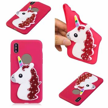 Case For Apple iPhone 7 8 Plus X 7 8 Phone Case Rhine Unicorn Mobile Phone Shell Glitter TPU Cover Shatter-resistant Cover Cute