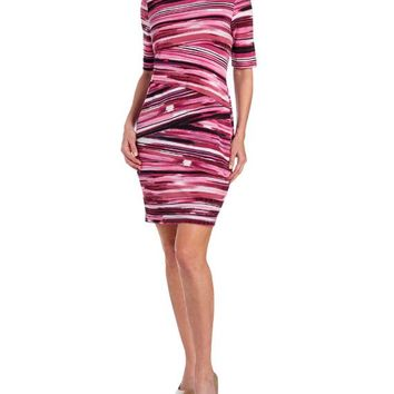 Static Brush Stripe Layered Body Con Dress