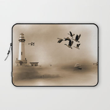Lighthouse Bay Laptop Sleeve by Theresa Campbell D'August Art