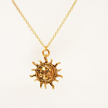 Moon and Sun Face Gold Charm Pendant Necklace