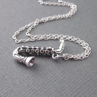 Saxophone Charm Necklace Sterling Silver Gift Boxed Jazz Band