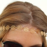 Gold Platted Floral Roses Hair Accessory Headband