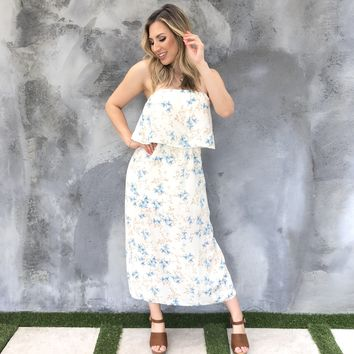Crisp Morning Floral Off Shoulder Dress
