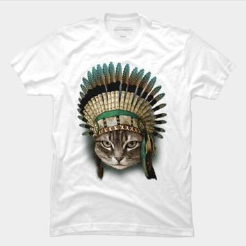 New Arrivals Fashion tribe The Indian Chief Cat Design Men's T Shirt Boy Hipster Cool Tops Casual T-shirt