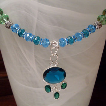 Peacock Blue Glass Pendant on matching Swarovski Crystal Necklace - Stunning, Statement, Chic, Trendy, Fashion