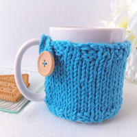 Blue Mug Cozy - Coffee Mug Cozy – Knit Cozy - Cup Warmer – Coffee Cup Sleeve – Gift for Her – Drink Cozy – Coffee Lover Gift – Coffee Cozy