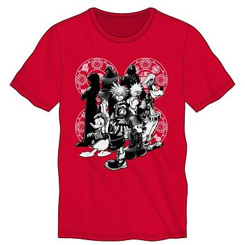 Disney Kingdom Hearts Character Men's Red T-Shirt