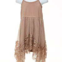 Toddler Taupe Lace Tank Dress