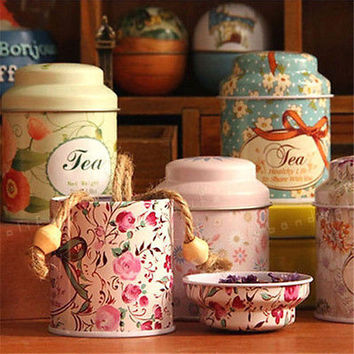 Flower Design Metal Sugar CoffeeTea Tin Jar Container Candy Sealed Cans Box HU