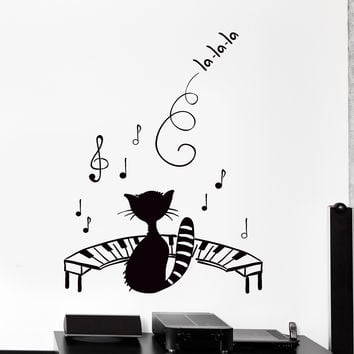 Vinyl Wall Decal Funny Pet Black Cat Kitty Music Piano Notes Big Decor Unique Gift z4455