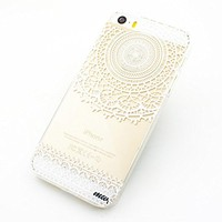 Clear Plastic Case Cover for Apple iPhone 5/5S, 5C, 6, 6Plus 6+ - Mandala Sun Lace tribal vintage mayan aztec floral