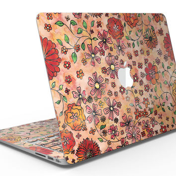 Floral Pattern on Orange Watercolor - MacBook Air Skin Kit