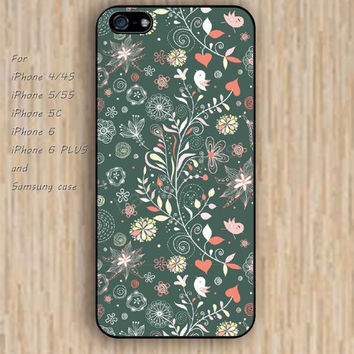 iPhone 5s 6 case cartoon flowers bird patterns Dream colorful phone case iphone case,ipod case,samsung galaxy case available plastic rubber case waterproof B490