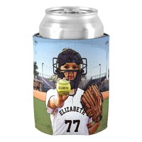 Softball Player Catcher With Your Name And Number Can Cooler