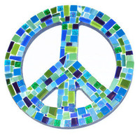 Blue and Green Mosaic Peace Sign, Wall Art